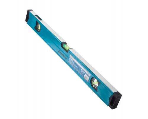 Уровень с магнитной лентой РемоКолор 600 мм, алюминиевый профиль толщ. 1,1 мм, фрезерованная грань, 2 глазка+1 зерк. глазок