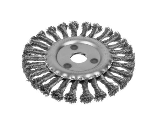 Кордщетка дисковая РемоКолор ⌀ 150 мм, посадочный ⌀ 22,2, витая стальная проволока