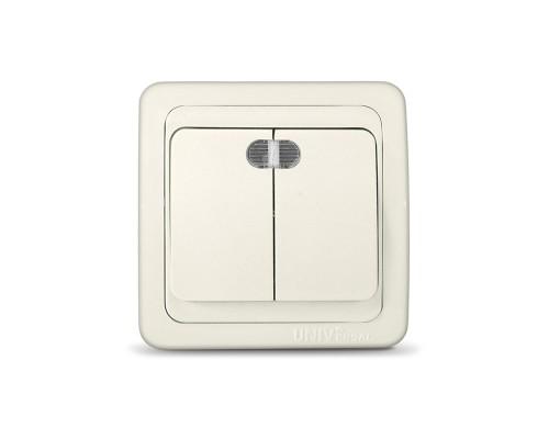 Выключатель UNIVersal для скрытой проводки, двухклавишный, с подсветкой, 10А слоновая кость