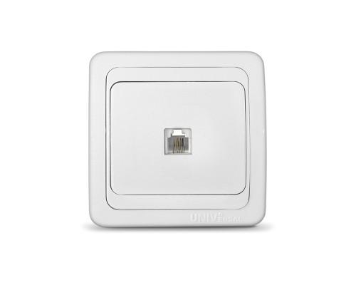 Розетка UNIVersal телефонная для скрытой проводки белая
