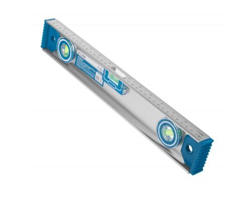 Уровень с магнитной лентой РемоКолор 400 мм, двутавровый алюминиевый профиль, 2 глазка+1 поворотный на 360°, линейка