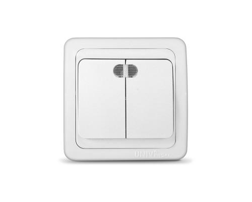 Выключатель UNIVersal для скрытой проводки, двухклавишный, с подсветкой, 10А белый