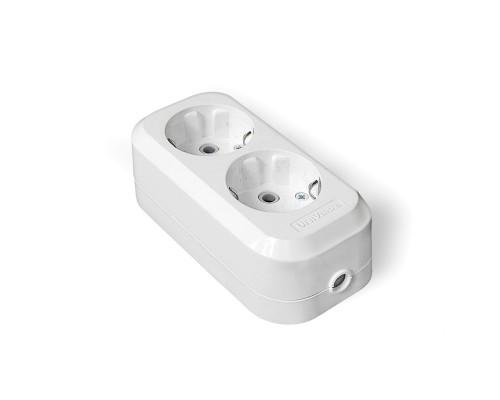 Колодка для удлинителя UNIVersal АБС - пластик, 2 розетки, 16А, с/з, белая