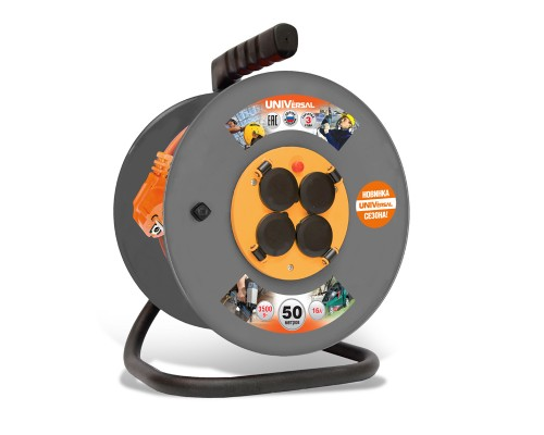 Удлинитель силовой UNIVersal на катушке, 4 роз, термо ПВС 3х1,5кв. мм. ГОСТ, 16А, 3,5 кВт, IP-44,с/з, 50м