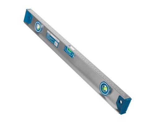 Уровень с магнитной лентой РемоКолор 600 мм, двутавровый алюминиевый профиль, 2 глазка+1 поворотный на 360°, линейка