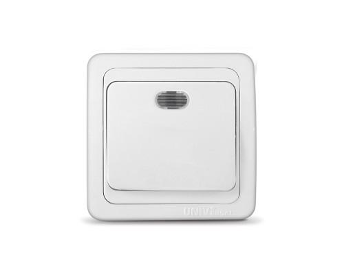 Выключатель UNIVersal для скрытой проводки, одноклавишный, с подсветкой, 10А белый