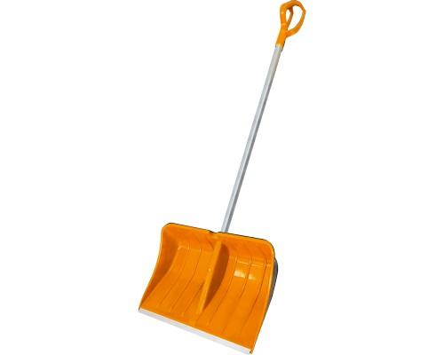 Лопата снеговая РемоКолор NORDWIND полимерный ковш, Al черенок с V-образной рукояткой, оранжевая, 530х380 мм