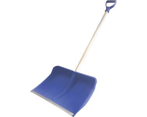 Лопата снеговая РемоКолор Зевс пластиковый ковш, Al черенок с V-образной рукояткой, синяя, 410х460 мм