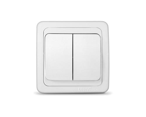Выключатель UNIVersal для скрытой проводки, двухклавишный, 10А белый