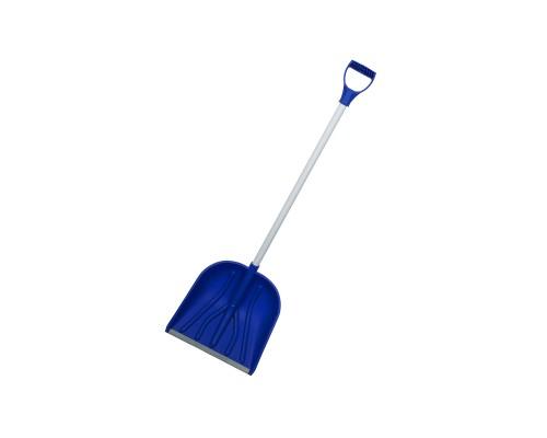 Лопата снеговая РемоКолор Кронос пластиковый ковш, Al черенок с V-образной рукояткой, синяя, 410х460 мм