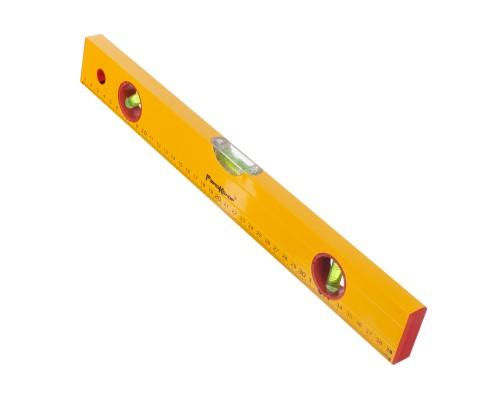Уровень РемоКолор Yellow 400 мм, алюминиевый коробчатый корпус, 3 акриловых глазка, линейка