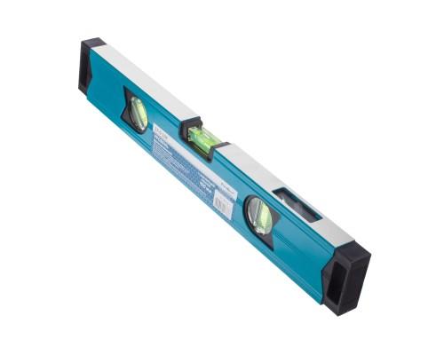 Уровень с магнитной лентой РемоКолор 400 мм, алюминиевый профиль толщ. 1,1 мм, фрезерованная грань, 2 глазка+1 зерк. глазок